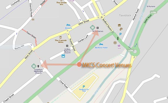 Fixed map of Kelly Choral Society concert venues in Tavistock